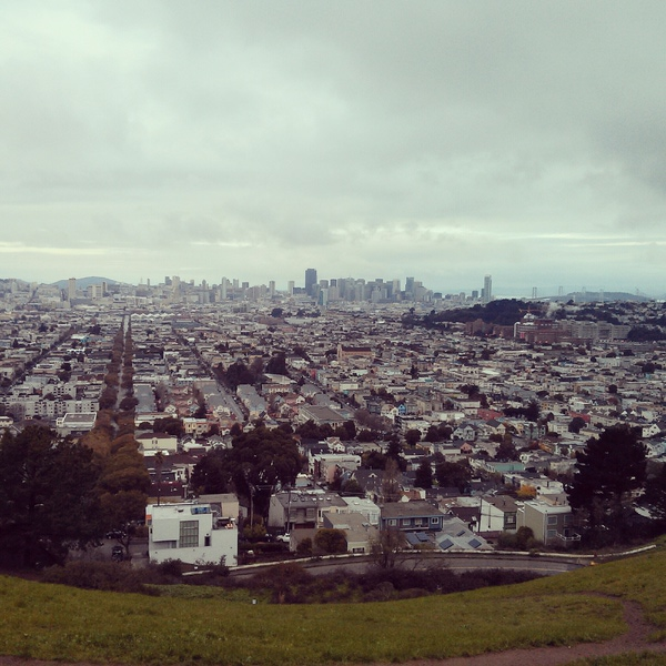 Shot overlooking Downtown and the Bay Bridge from Bernal Hill