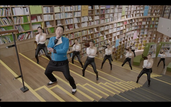 "Psy dancing in the Seoul Metropolitan Library in ""Gentleman"""