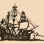 A pirate ship at sea