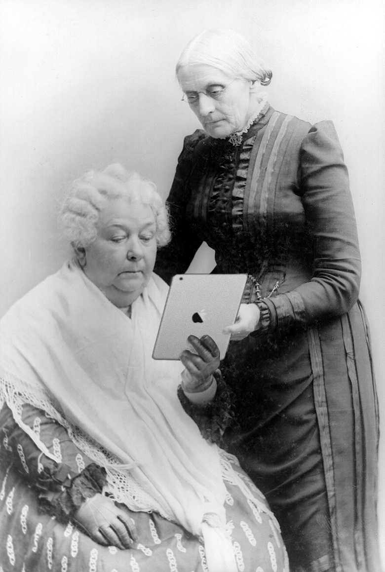 Elizabeth Cady Stanton and Susan B. Anthony on an iPad