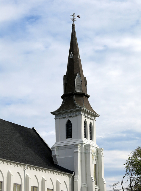 "The steeple of Emanuel African Methodist Episcopal Church, Charleston, SC"" by Spencer Means is licensed under CC BY-SA 2.0"